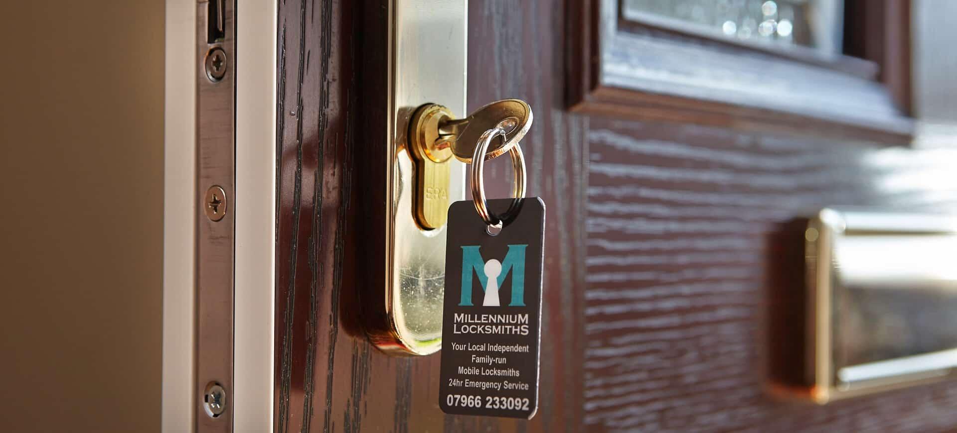 Millennium Locksmith Tag on Newly Installed Lock