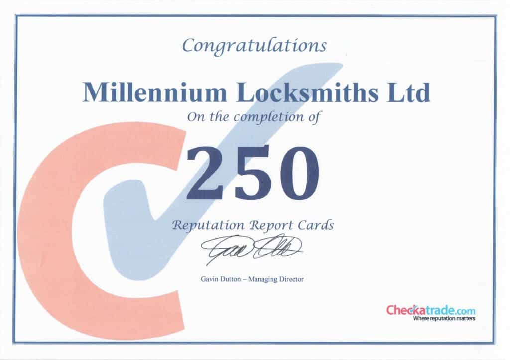 Millennium Lockmiths Celebrate 250 Reviews
